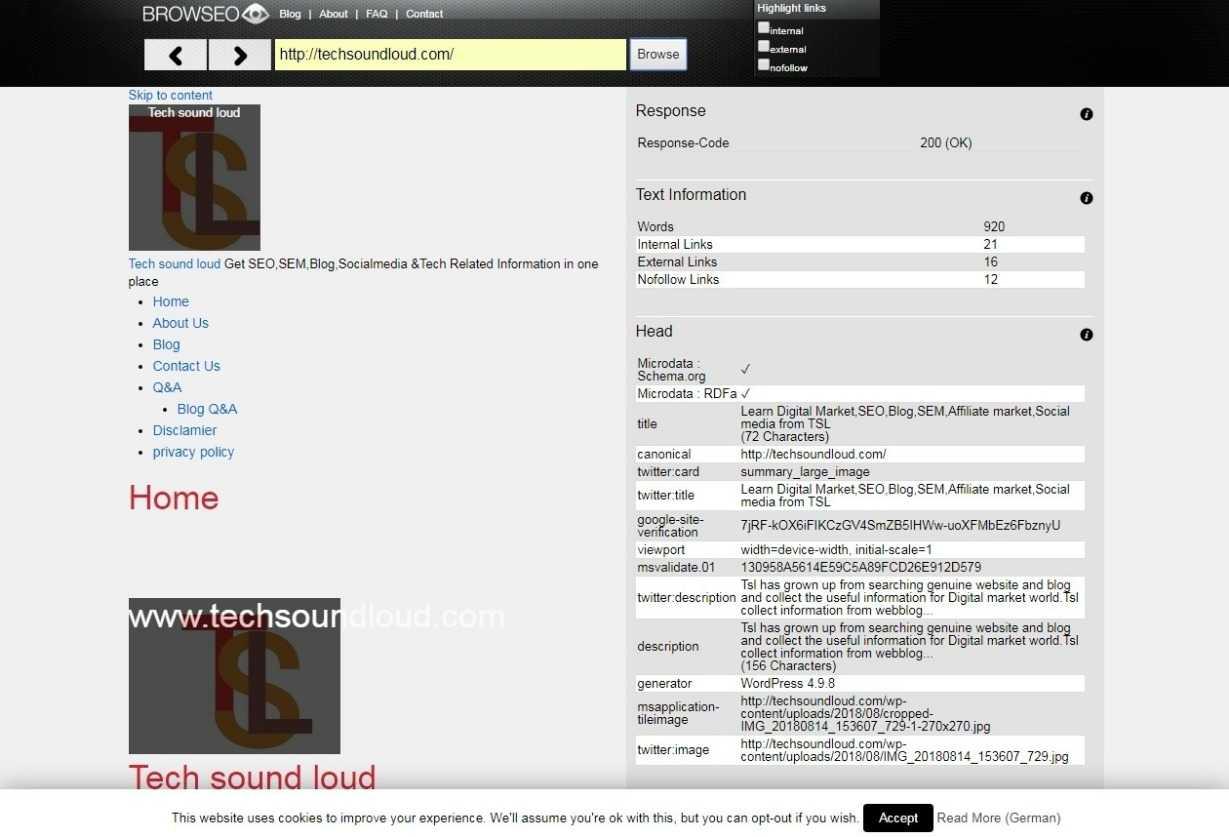 browseo net seo tool
