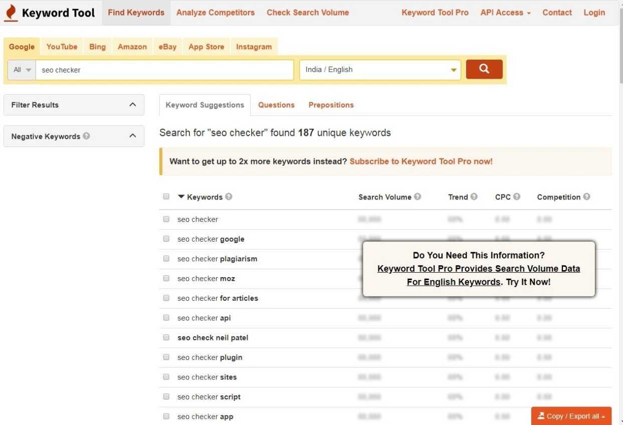 keyword research I O Seo tool
