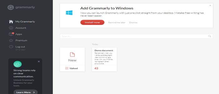 grammarly writing assitent