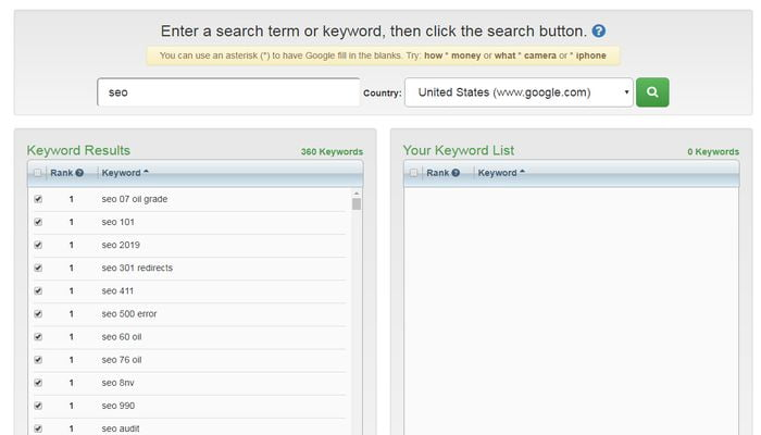 google Auto complete keyword research tool